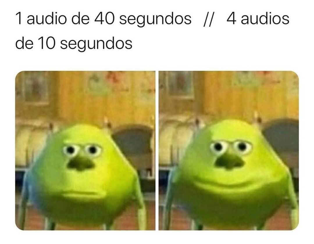 1 audio de 40 segundos. // 4 audios de 10 segundos.