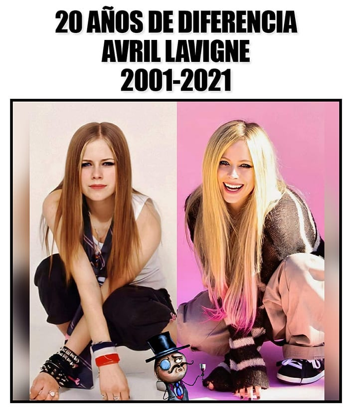 20 Años de diferencia Avril Lavigne 2001-2021.