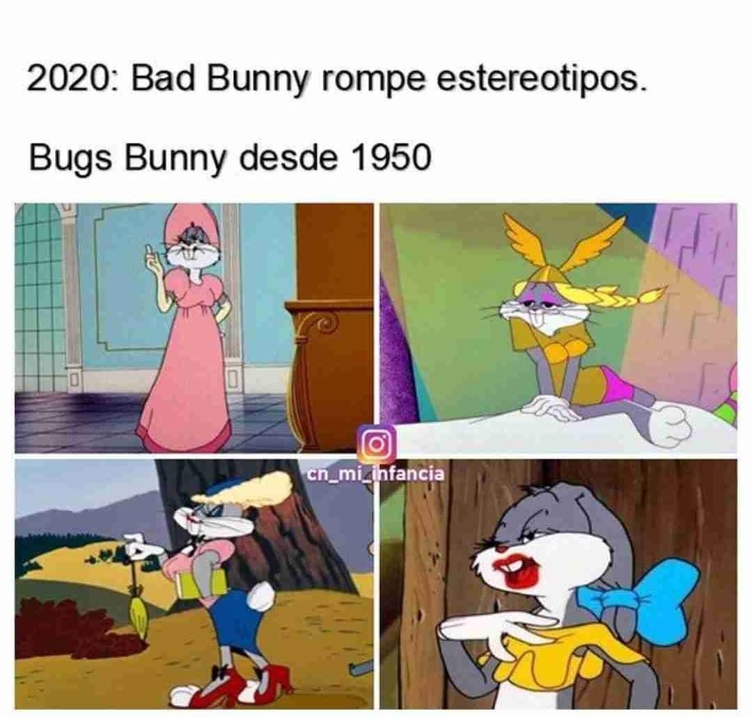 2020: Bad Bunny rompe estereotipos.  Bugs Bunny desde 1950 .