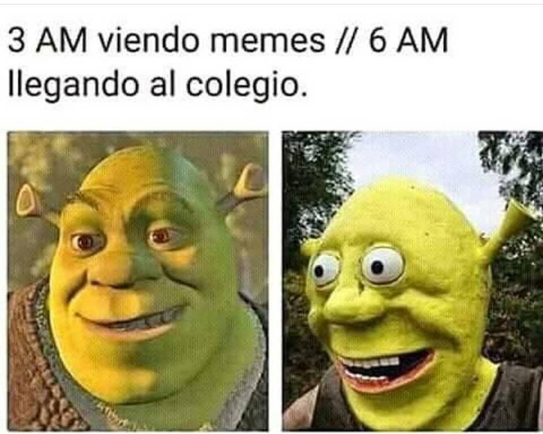 3 AM viendo memes. // 6 AM llegando al colegio.