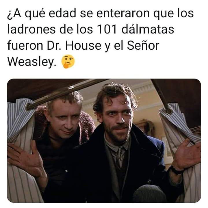 ¿A qué edad se enteraron que los ladrones de los 101 dálmatas fueron Dr. House y el Señor Weasley?