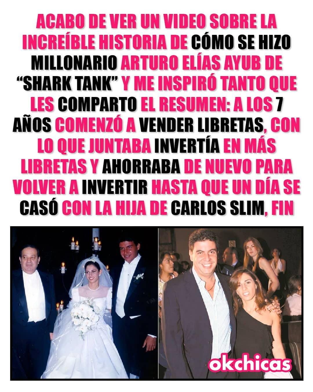 """Acabo de un video sobre la increíble historia de como se hizo millonario Arturo Elías Ayub de """"Shark Tank"""" y me inspiro tanto que les comparto el resumen: a los 7 años comenzó a vender libretas, con lo que juntaba invertía en más libretas y ahorraba de nuevo para volver a invertir hasta que un dia se caso con la hija de Carlos Slim, fin."""