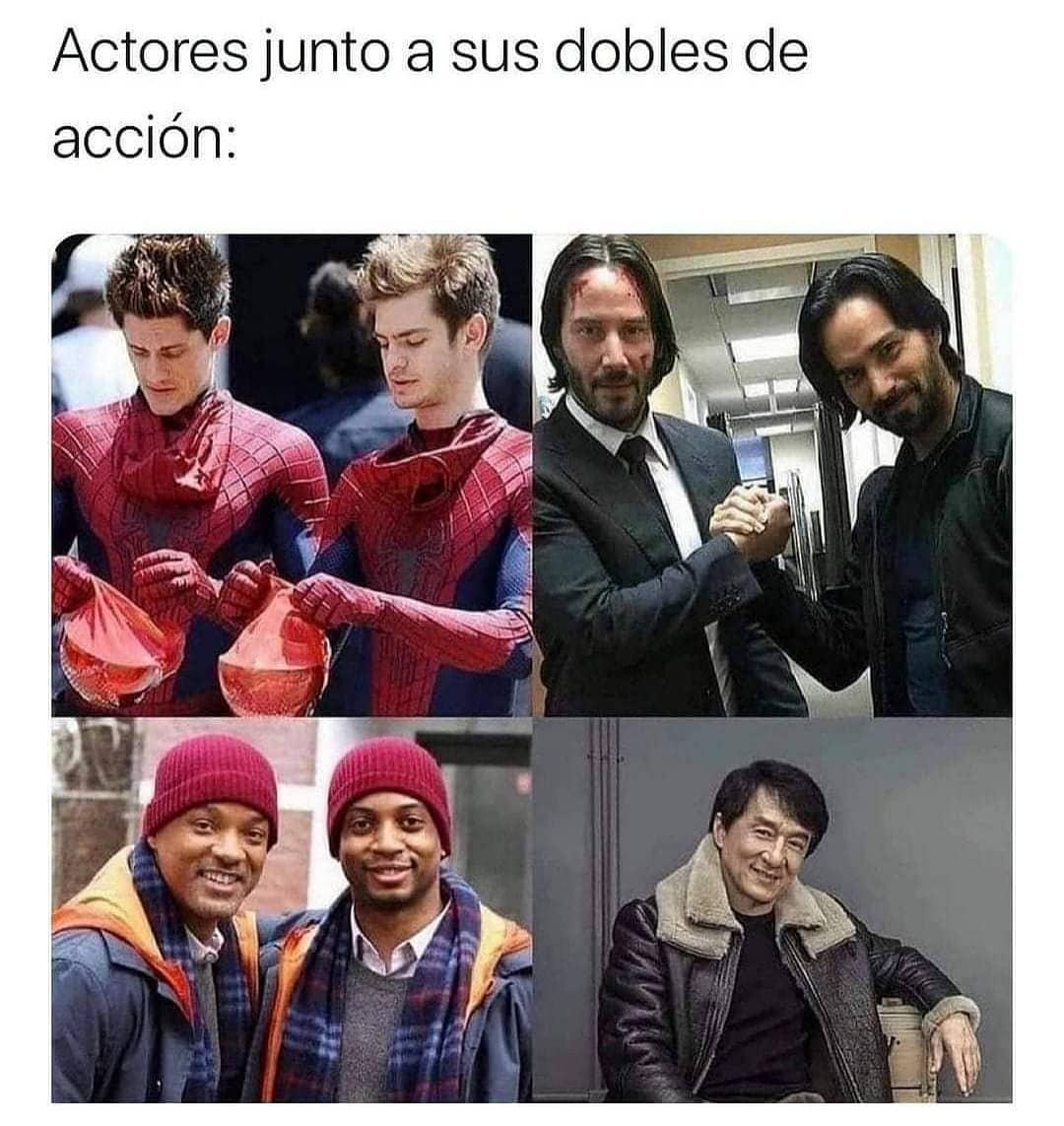 Actores junto a sus dobles de acción: