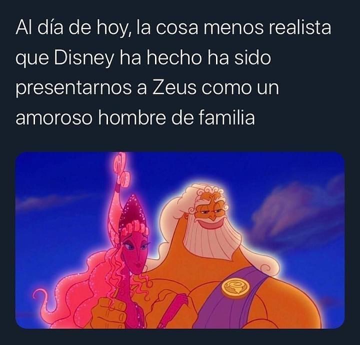 Al día de hoy, la cosa menos realista que Disney ha hecho ha sido presentarnos a Zeus como un amoroso hombre de familia.