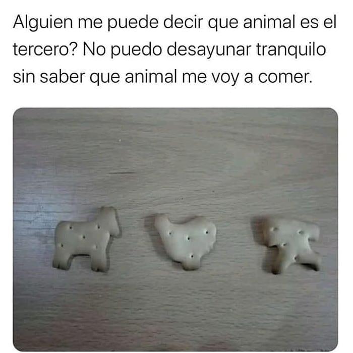 Alguien me puede decir que animal es el tercero? No puedo desayunar tranquilo sin saber que animal me voy a comer.
