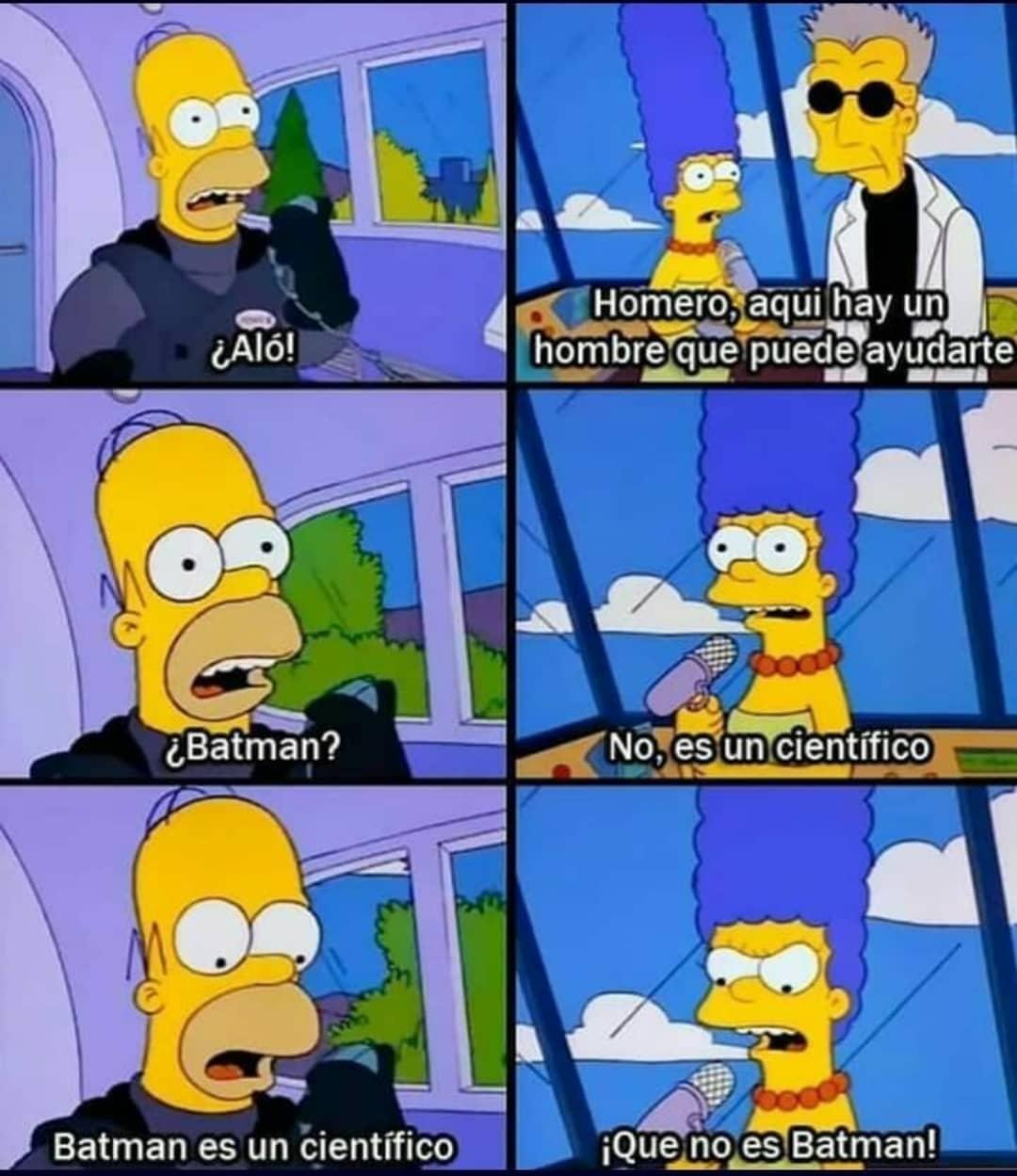 ¿Aló!  Homero, aqui hay un hombre que puede ayudarte.  ¿Batman?  No, es un científico.  Batman es un científico.  ¡Que no es Batman!