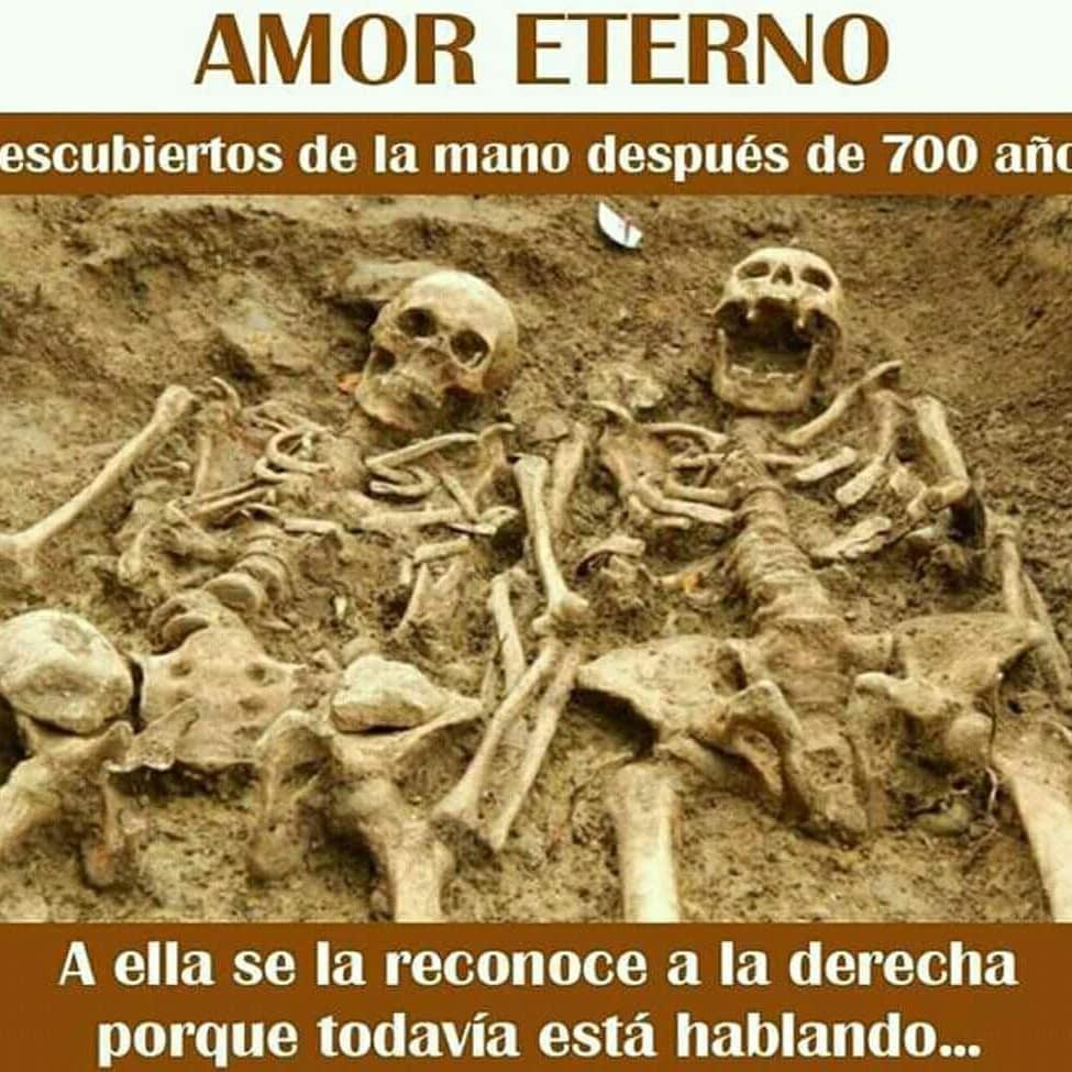 Amor eterno.  Descubiertos de la mano después de 700 años.  A ella se la reconoce a la derecha porque todavía está hablando...