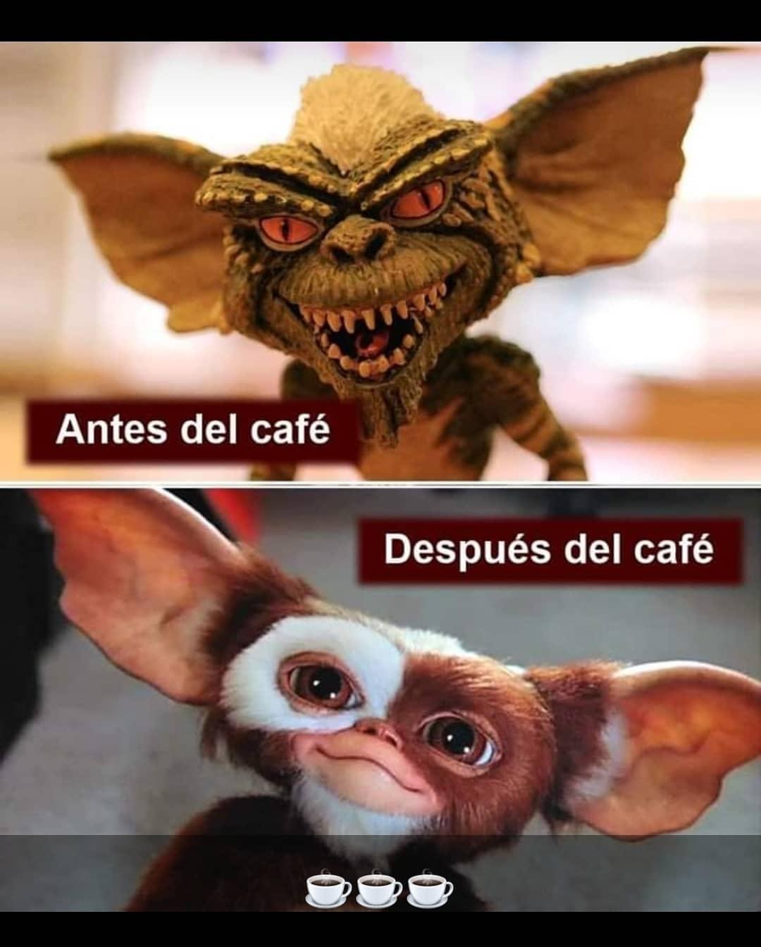 Antes del café.  Después del café.