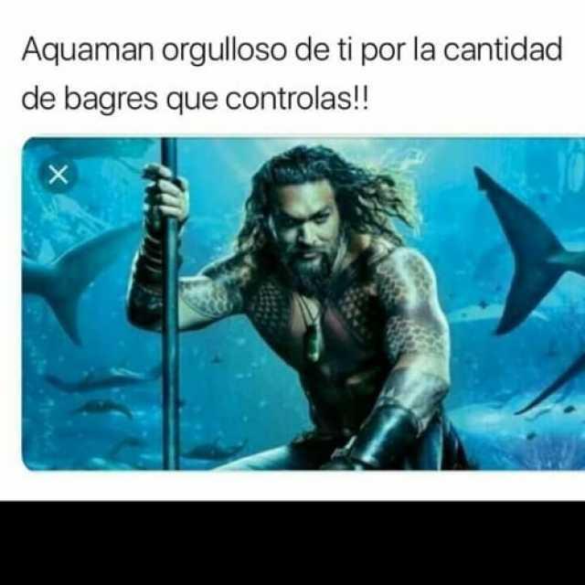Aquaman orgulloso de ti por la cantidad de bagres que controlas!!