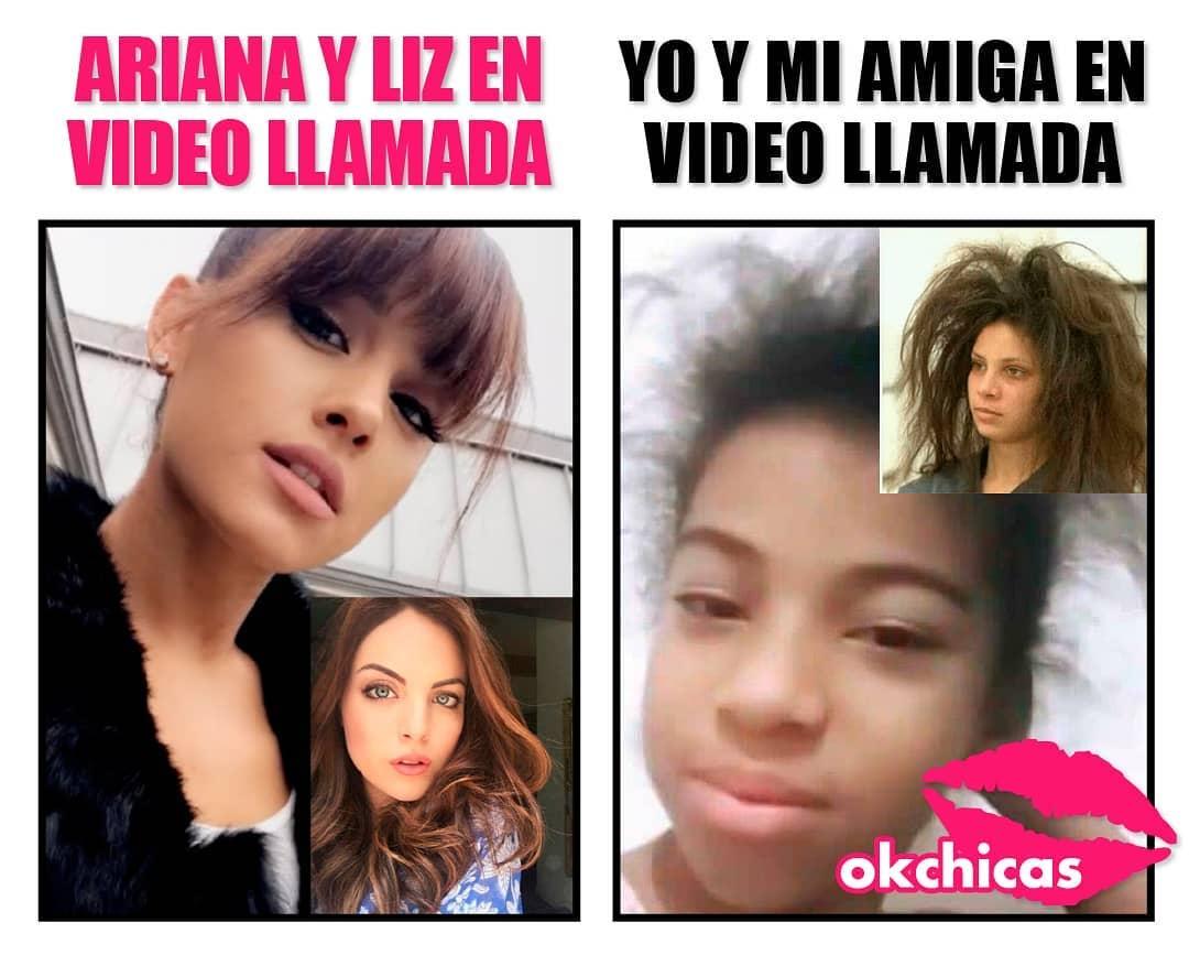 Ariana y Liz en video llamada.  Yo y mi amiga en video llamada.