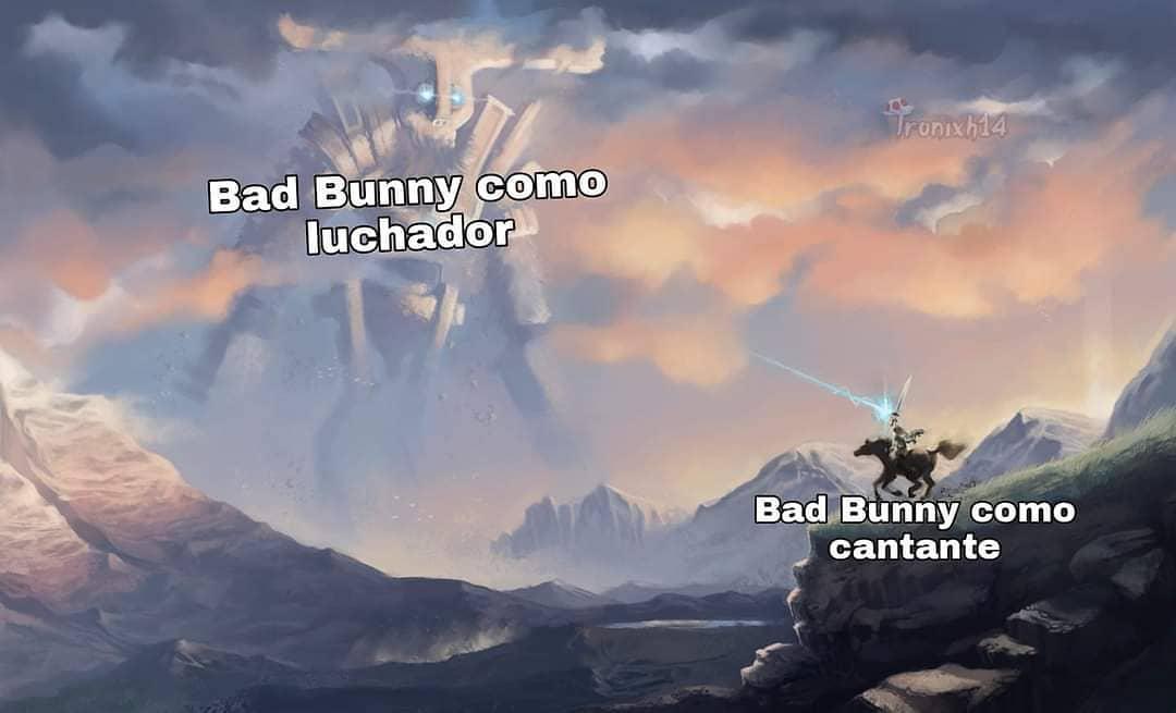 Bad Bunny como luchador.  Bad Bunny como cantante.