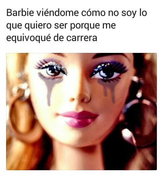 Barbie viéndome cómo no soy lo que quiero ser porque me equivoqué de carrera.