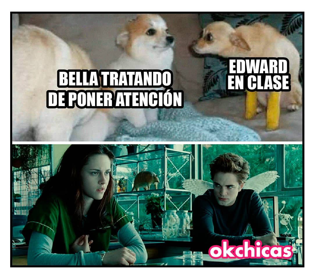 Bella tratando de poner atención.  Edward en clase.