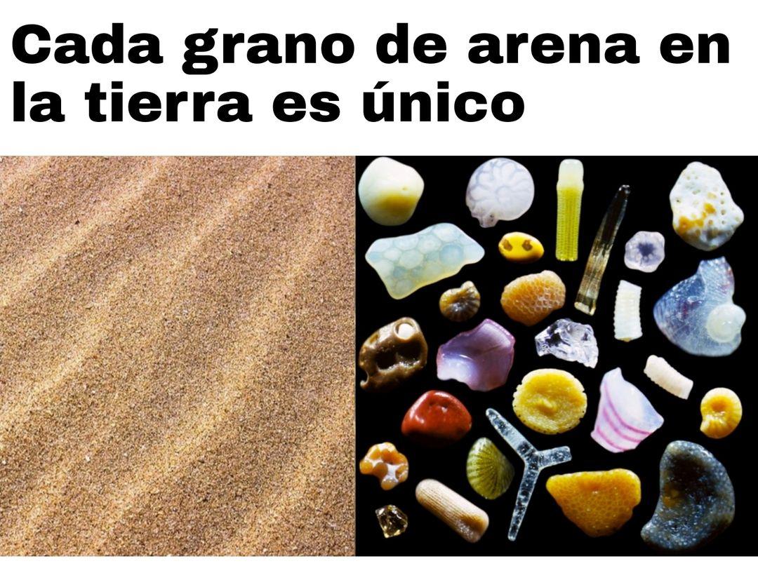 Cada grano de arena en la tierra es único.