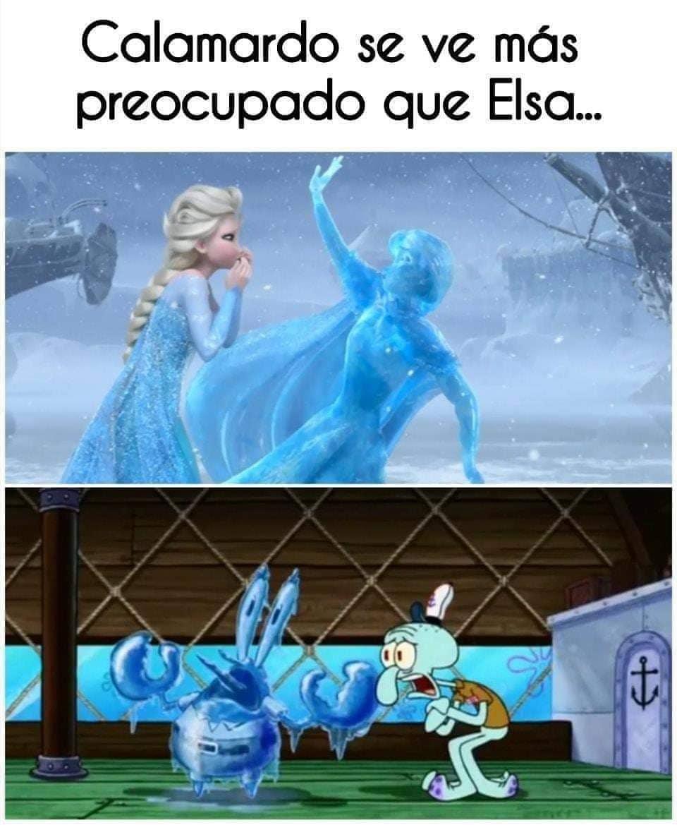 Calamardo se ve más preocupado que Elsa...