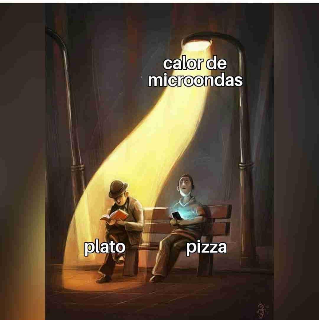 Calor de microondas. Plato. Pizza.