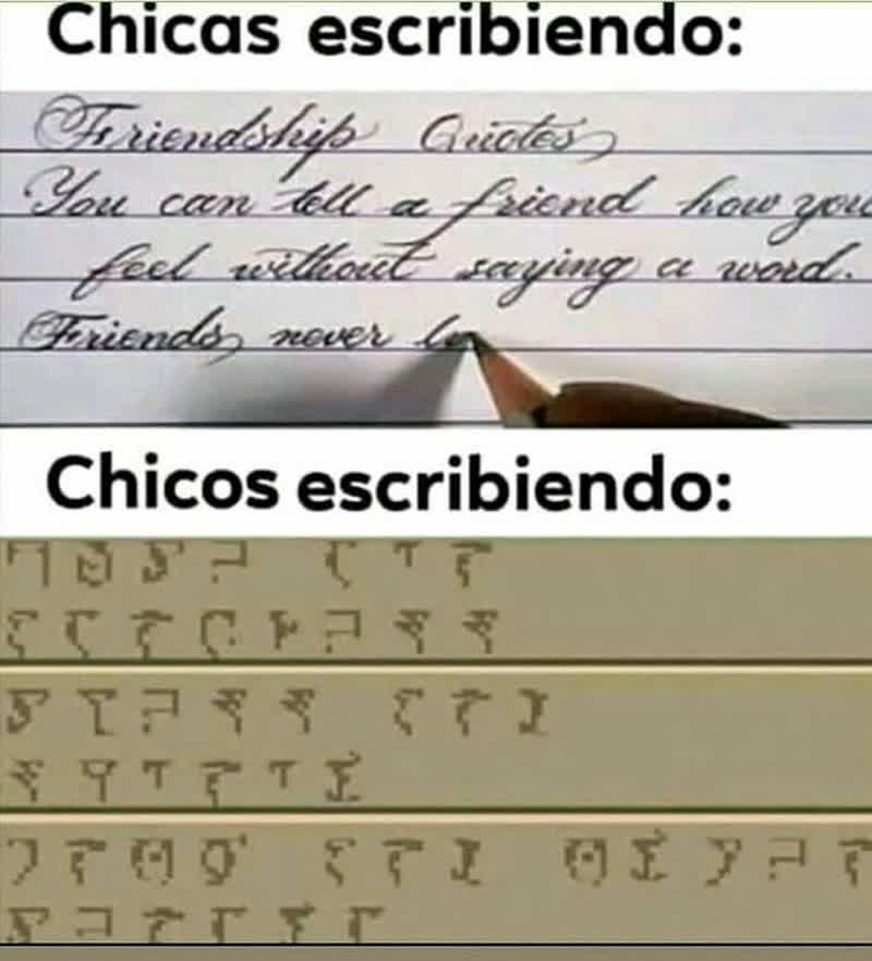 Chicas escribiendo: / Chicos escribiendo.