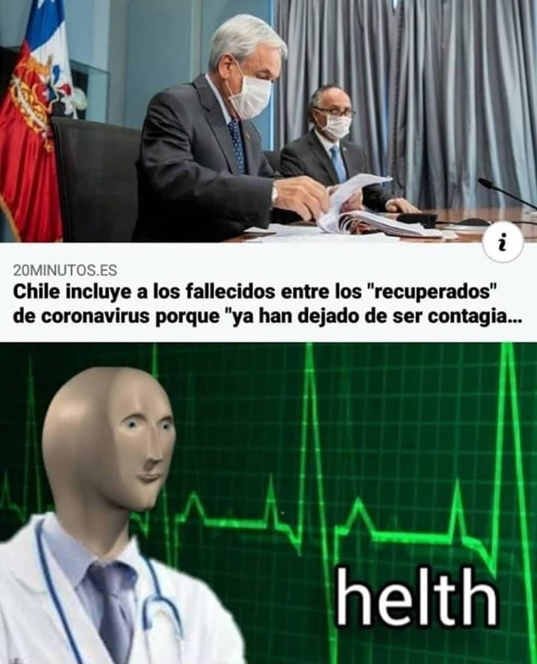 """Chile incluye a los fallecidos entre los """"recuperados"""" de coronavirus porque """"ya han dejado de ser contagia... helth."""
