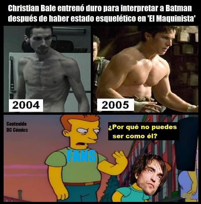 """Christian Bale entrenó duro para interpretar a Batman después de haber estado esquelético en """"El Maquinista"""".  2004. / 2005.  ¿Por qué no puedes ser como él?"""