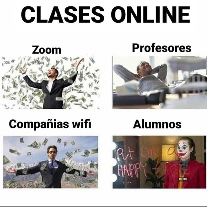 Clases online. Zoom. Profesores. Compañías wifi. Alumnos.