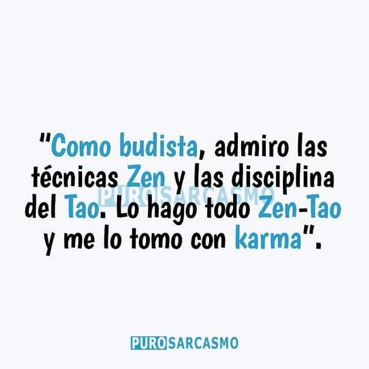"""""""Como budista, admiro las técnicas Zen y las disciplinas del Tao. Lo hago todo Zen-Tao y me lo tomo con karma""""."""