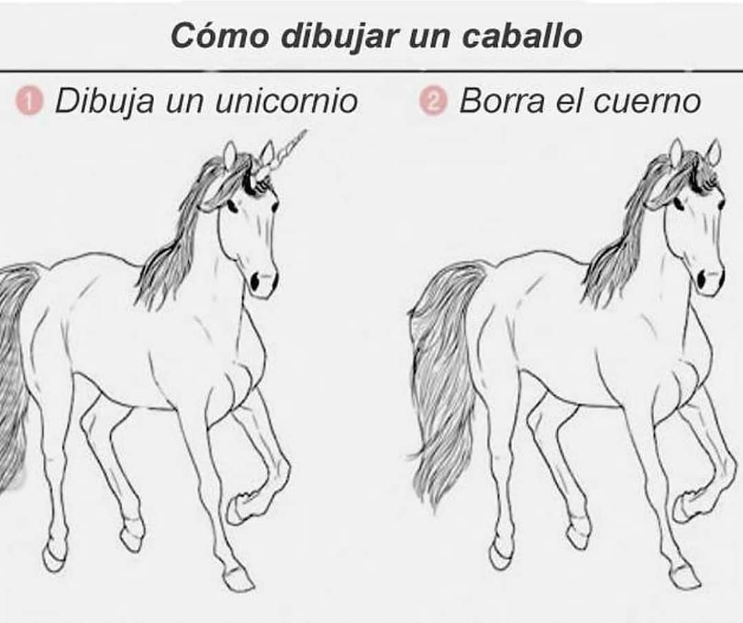 Cómo dibujar un caballo.  Dibuja un unicornio. // Borra el cuerno.