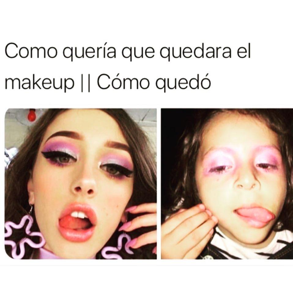 Como quería que quedara el makeup. // Cómo quedó.