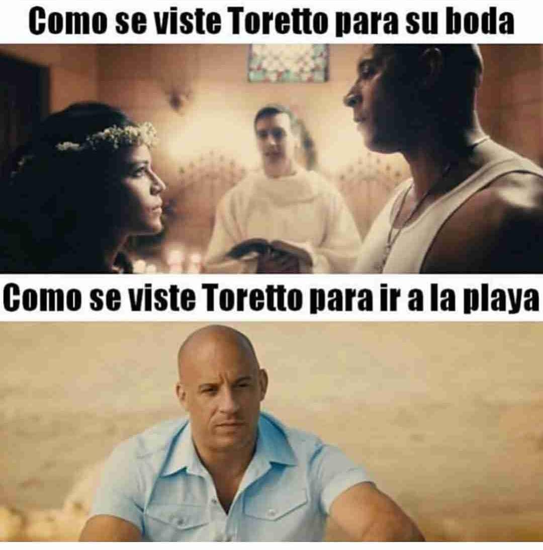 Como se viste Toretto para su boda.  Como se viste Toretto para ir a la playa.