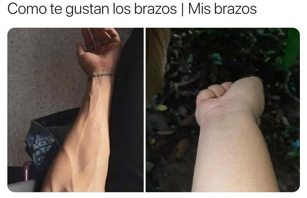 Como te gustan los brazos. / Mis brazos.