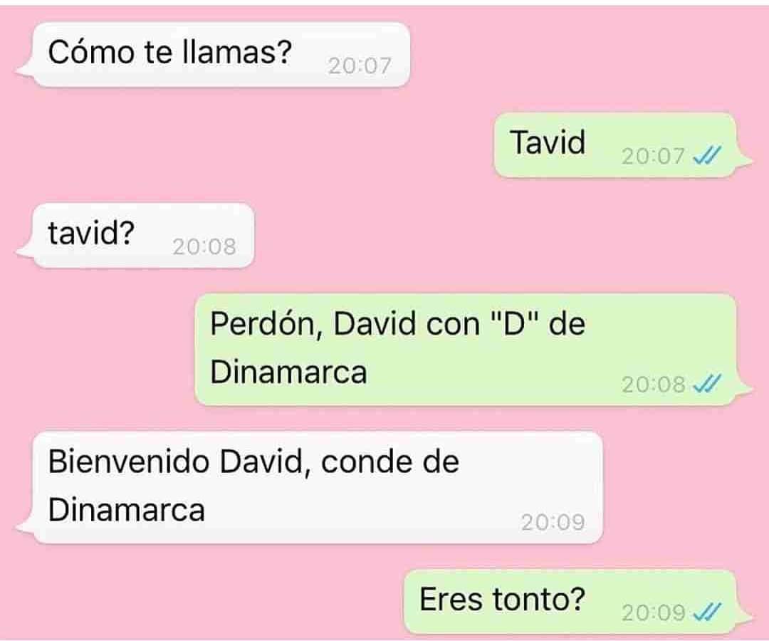 """Cómo te llamas?  Tavid.  Tavid?  Perdón, David con """"D"""" de Dinamarca.  Bienvenido David, conde de Dinamarca.  Eres tonto?"""