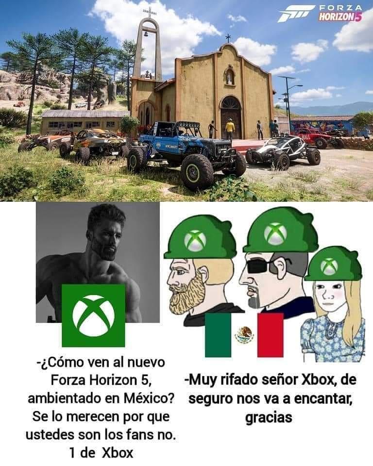 ¿Cómo ven al nuevo Forza Horizon 5, ambientado en México? Se lo merecen por que ustedes son los fans no. 1 de Xbox.  Muy rifado señor Xbox, de seguro nos va a encantar, gracias.
