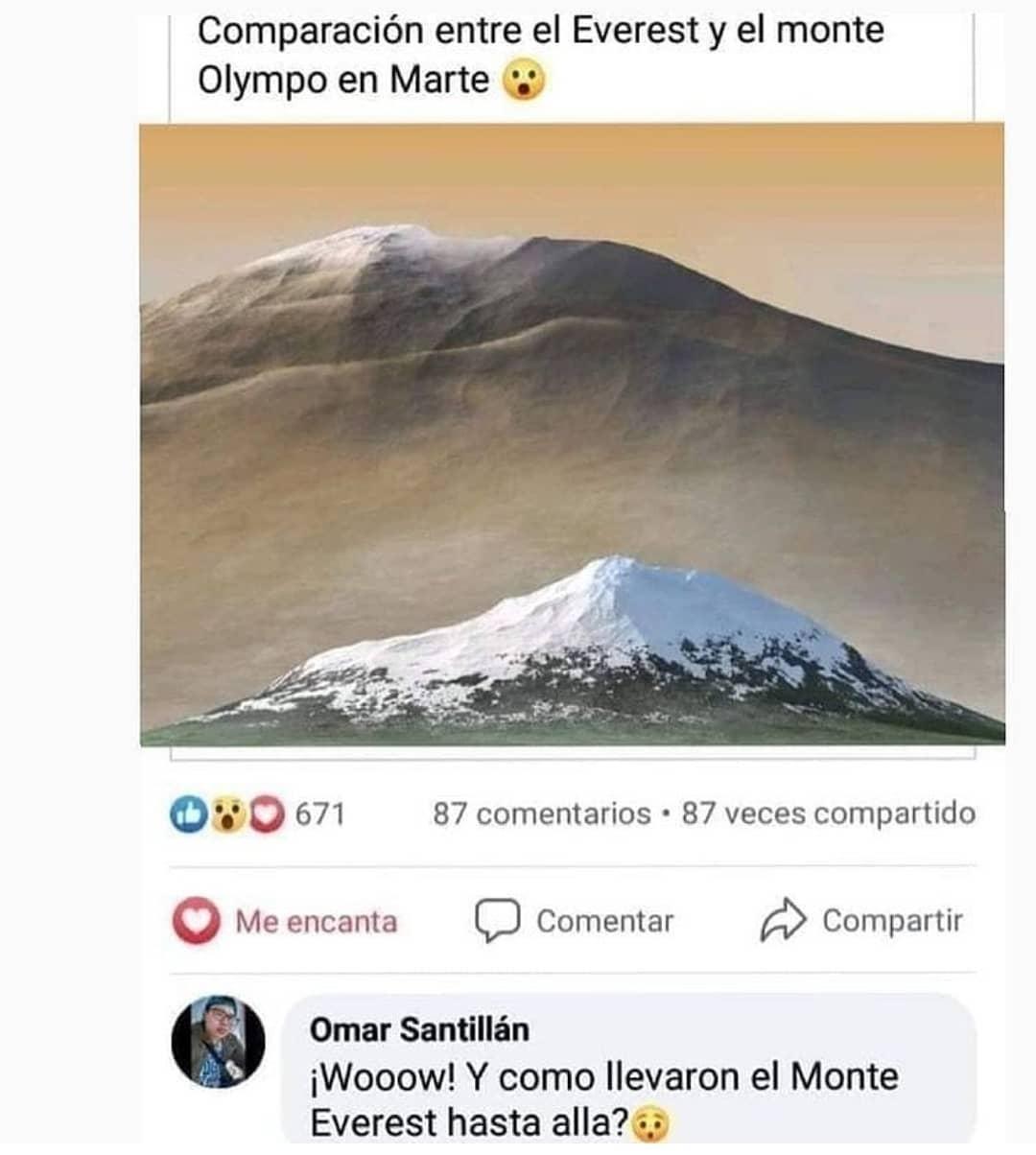 Comparación entre el Everest y el monte Olympo en Marte.  ¡Wooow! Y como llevaron el Monte Everest hasta allá?