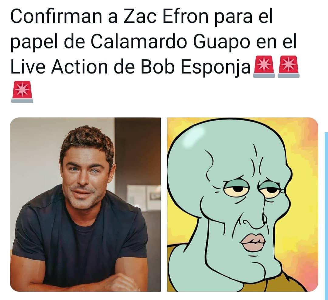Confirman a Zac Efron para el papel de Calamardo Guapo en el Live Action de Bob Esponja.