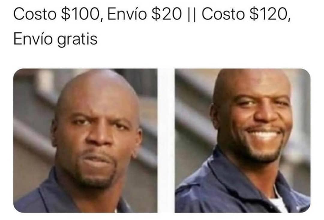 Costo $100, Envío $20. // Costo $120, Envío gratis.