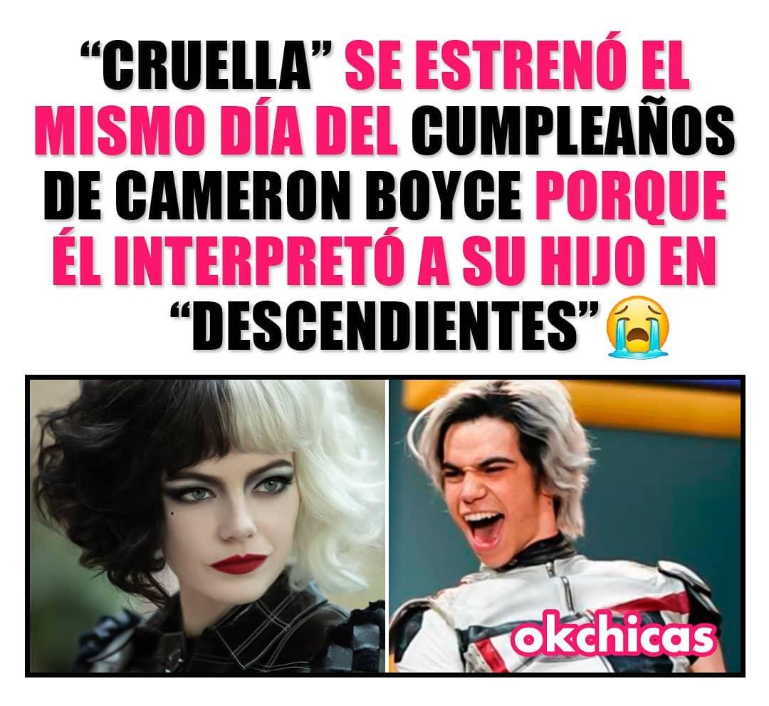 """""""Cruella"""" se estrenó el mismo día del cumpleaños de Cameron Boyce porque él interpretó a su hijo en """"Descendientes""""."""