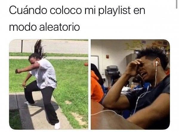 Cuándo coloco mi playlist en modo aleatorio.