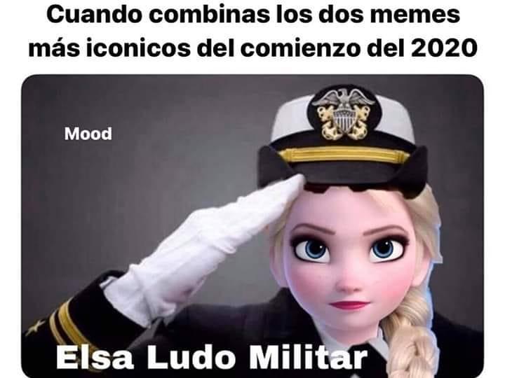 Cuando combinas los dos memes más icónicos del comienzo del 2020.  Elsa Ludo militar.