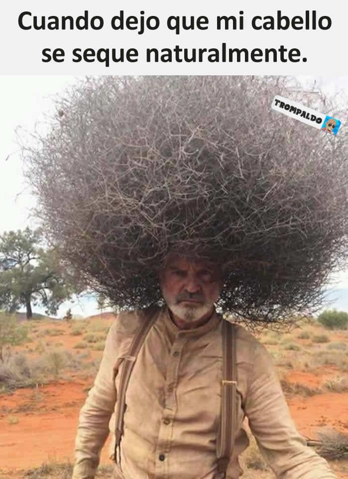 Cuando dejo que mi cabello se seque naturalmente.