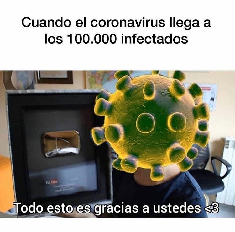 Cuando el coronavirus llega a los 100.000 infectados.  Todo esto es gracias a ustedes.