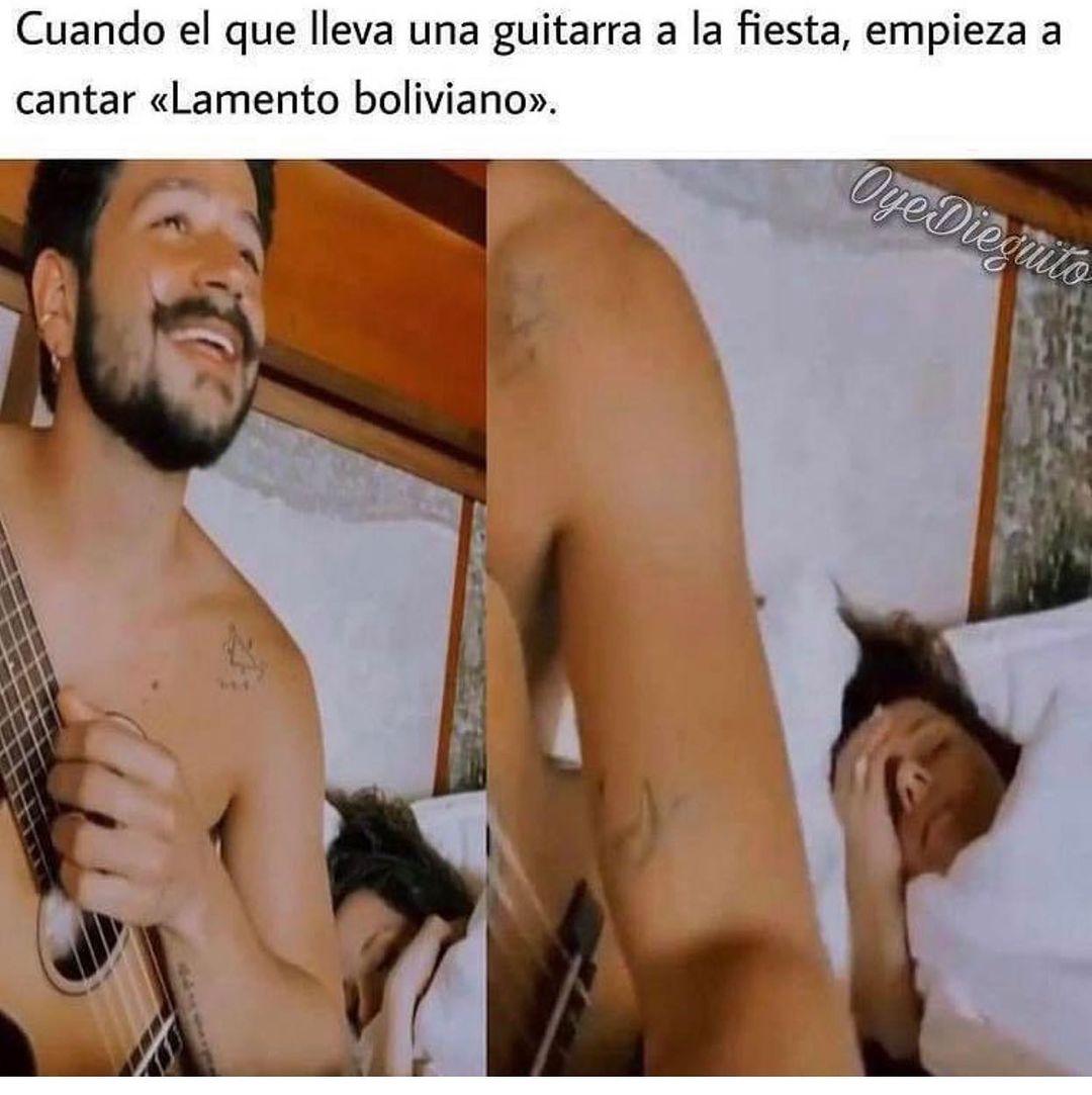 """Cuando el que lleva una guitarra a la fiesta, empieza a cantar """"Lamento boliviano""""."""