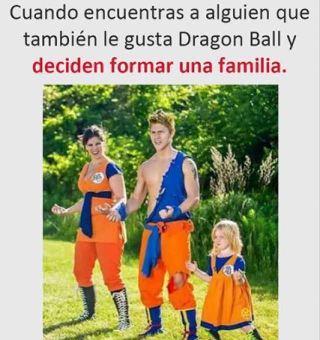 Cuando encuentras a alguien que también le gusta Dragon Ball y deciden formar una familia.