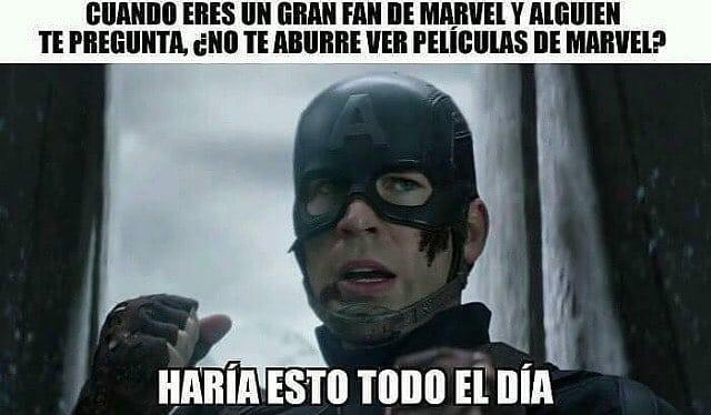 Cuando eres un gran fan de Marvel y alguien te pregunta ¿No te aburre ver películas de Marvel?  Haría esto todo el día.