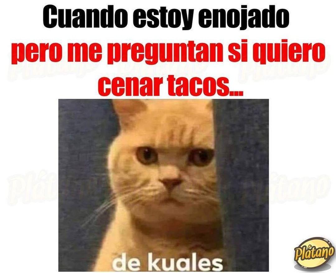 Cuando estoy enojado pero me preguntan si quiero cenar tacos...  De kuales.