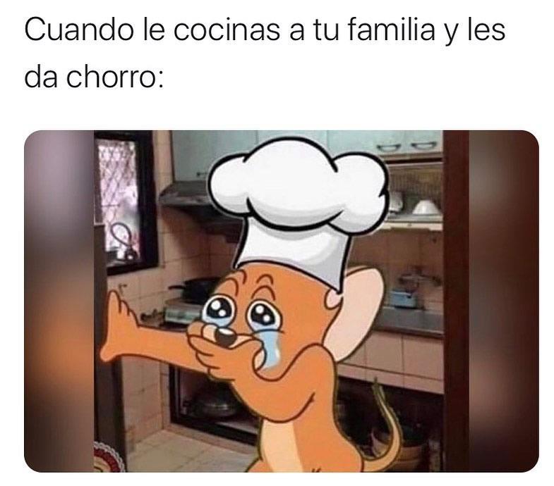 Cuando le cocinas a tu familia y les da chorro: