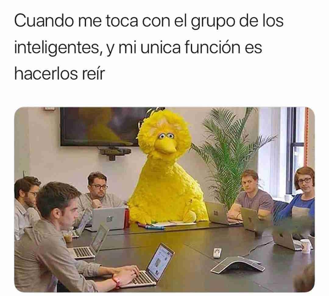Cuando me toca con el grupo de los inteligentes, y mi unica función es hacerlos reír.