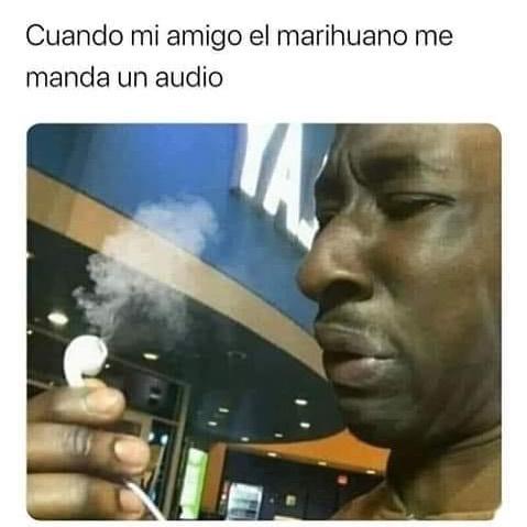 Cuando mi amigo el marihuano me manda un audio.