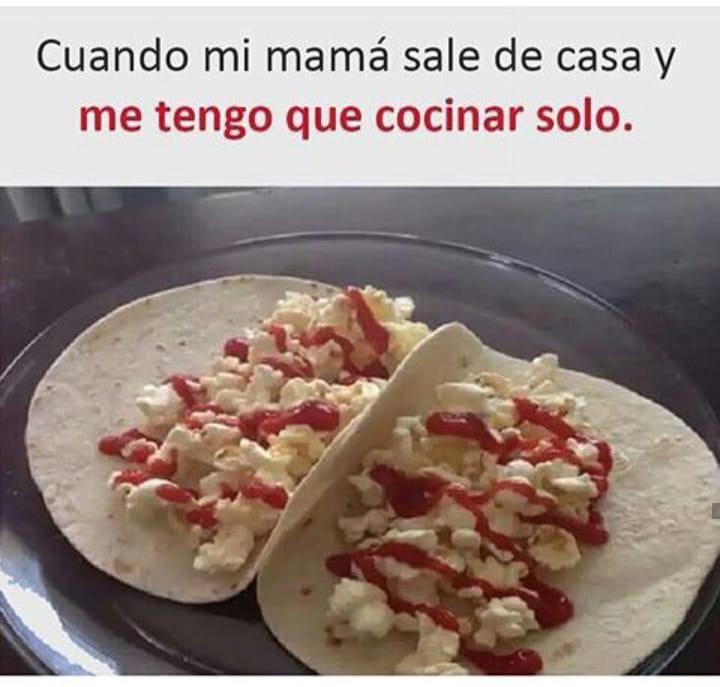 Cuando mi mamá sale de casa y me tengo que cocinar solo.
