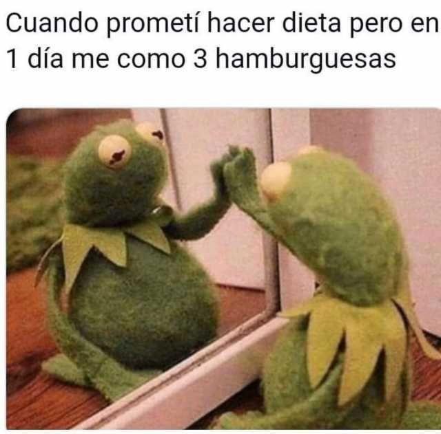 Cuando prometí hacer dieta pero en 1 día me como 3 hamburguesas.