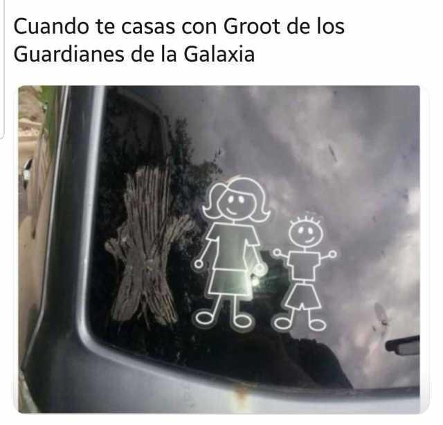 Cuando te casas con Groot de los Guardianes de la Galaxia.