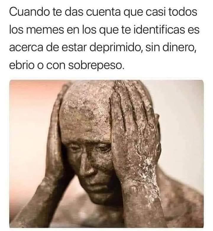 Cuando te das cuenta que casi todos los memes en los que te identificas es acerca de estar deprimido, sin dinero, ebrio o con sobrepeso.